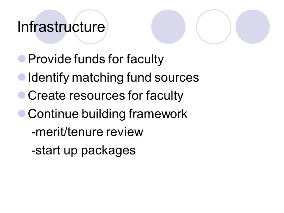 Infrastructure Provide funds for faculty Identify matching fund sources Create resources for faculty Continue building framework -merit/tenure review -start up packages