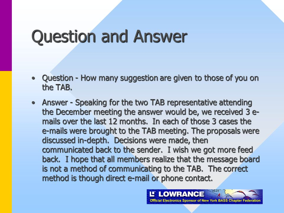 Question and Answer Question - How many suggestion are given to those of you on the TAB.Question - How many suggestion are given to those of you on the TAB.