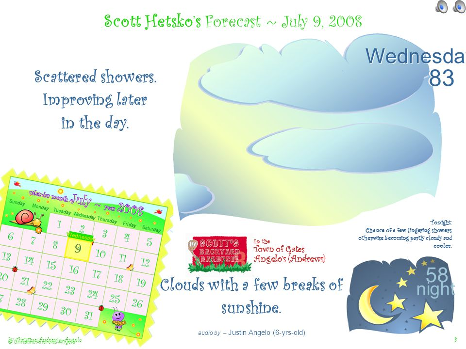 Illustrated by Christine Andrews~Angelo July 2008 Weather Presented by Town of Gates Children Justin Angelo, Abby Kirchner, Jared Kirchner, and Morgan Andrews Scott Hetsko's 7-Day Forecast ~ July 9th-15th 2008 audio by – Morgan Andrews (7-yrs-old) < picnic ant Scott In the Town of Gates Angelo's (Andrews) plus