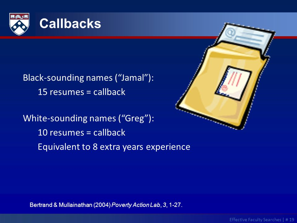 Callbacks Black-sounding names ( Jamal ): 15 resumes = callback White-sounding names ( Greg ): 10 resumes = callback Equivalent to 8 extra years experience Bertrand & Mullainathan (2004) Poverty Action Lab, 3, 1-27.