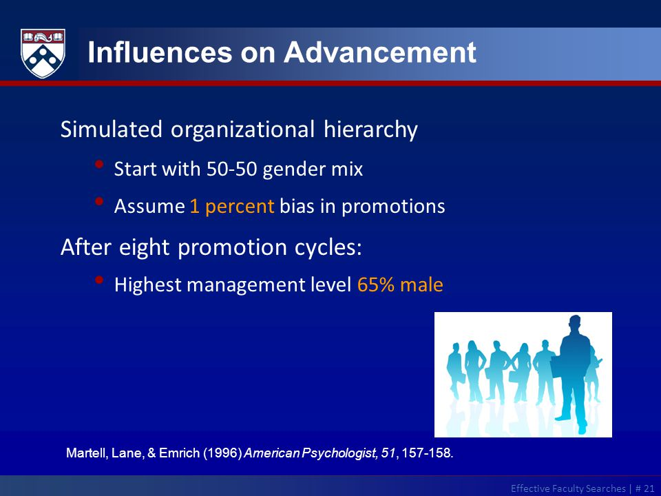 Influences on Advancement Martell, Lane, & Emrich (1996) American Psychologist, 51, 157-158.