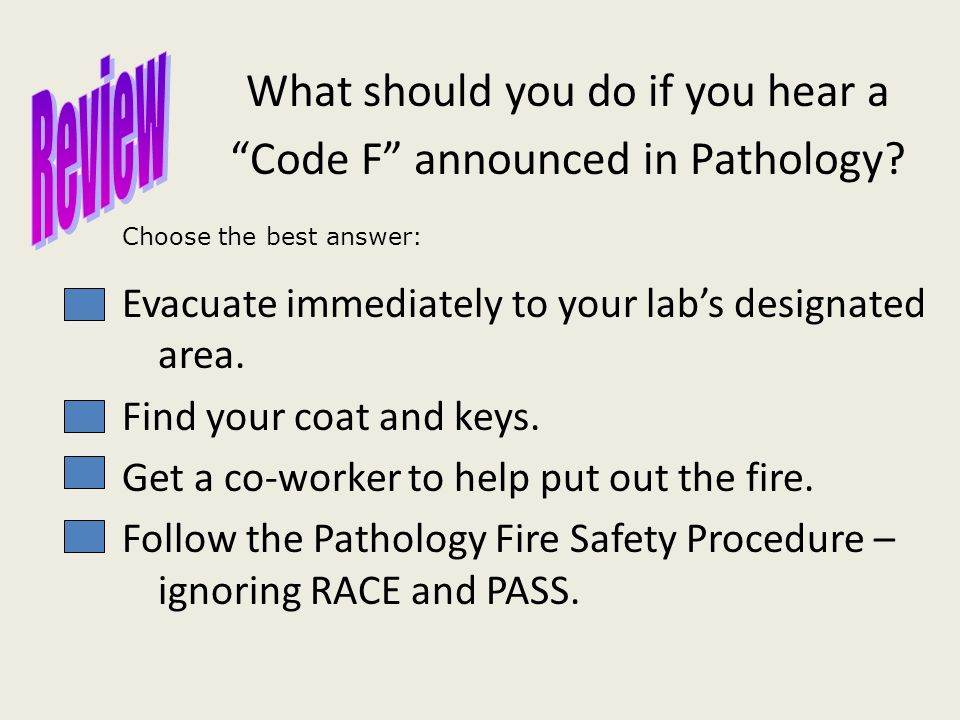 What should you do if you hear a Code F announced in Pathology.