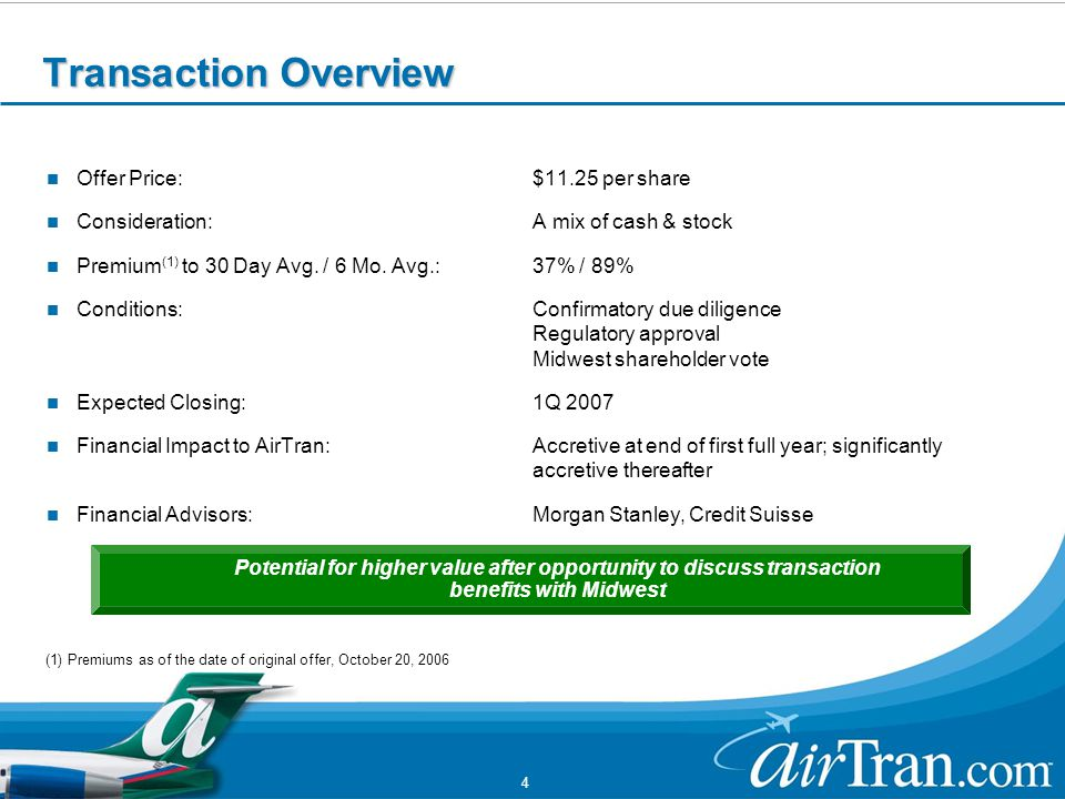 4 Transaction Overview Offer Price:$11.25 per share Consideration:A mix of cash & stock Premium (1) to 30 Day Avg.