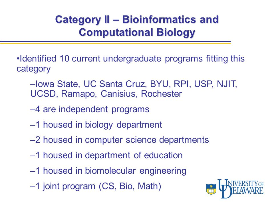 Category II – Bioinformatics and Computational Biology Identified 10 current undergraduate programs fitting this category –Iowa State, UC Santa Cruz, BYU, RPI, USP, NJIT, UCSD, Ramapo, Canisius, Rochester –4 are independent programs –1 housed in biology department –2 housed in computer science departments –1 housed in department of education –1 housed in biomolecular engineering –1 joint program (CS, Bio, Math)