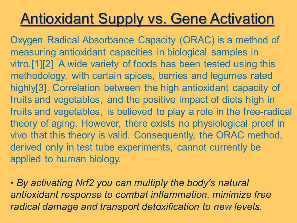 Antioxidant Supply vs. Gene Activation