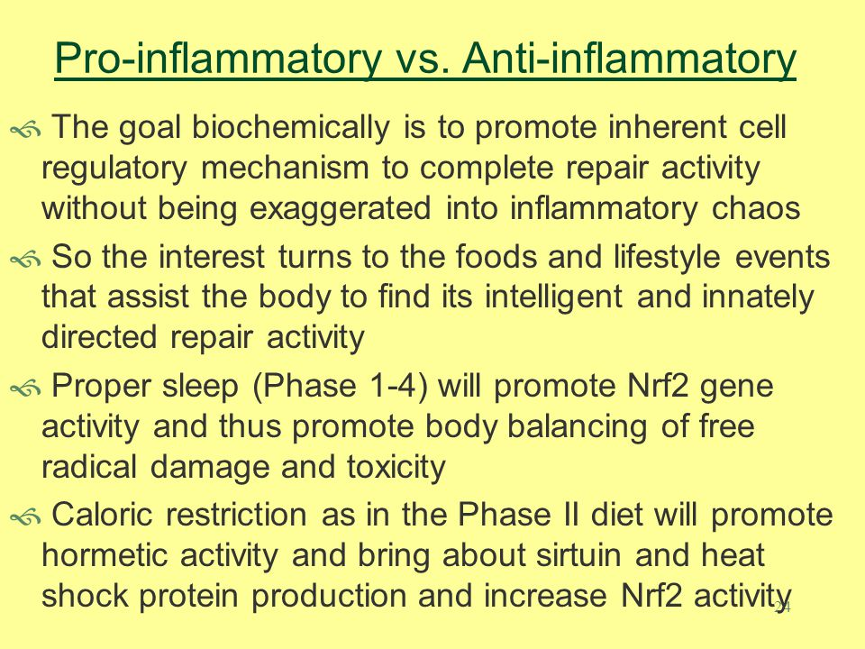 24 Pro-inflammatory vs. Anti-inflammatory  The goal biochemically is to promote inherent cell regulatory mechanism to complete repair activity withou