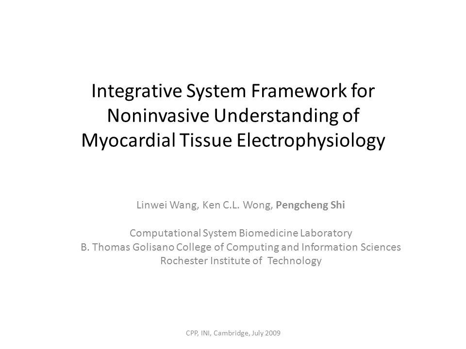 Integrative System Framework for Noninvasive Understanding of Myocardial Tissue Electrophysiology Linwei Wang, Ken C.L.