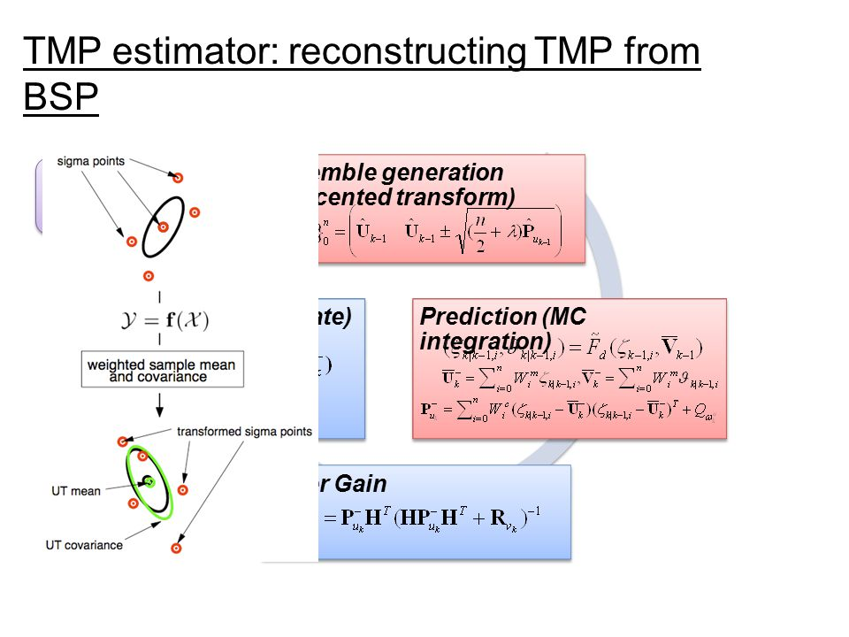 Ensemble generation (unscented transform) Prediction (MC integration) Filter Gain Correction (KF update) Initialization k = k+1 TMP estimator: reconstructing TMP from BSP