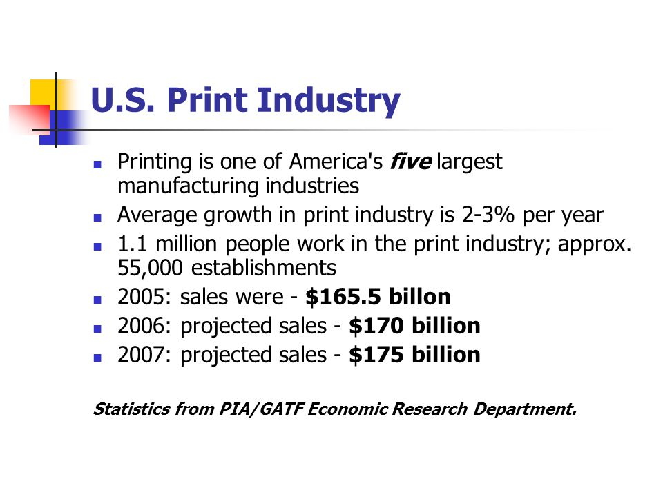 State of Wisconsin − Print Industry Printing is one of Wisconsin's largest manufacturing Industries with 1,040 establishments state-wide Wisconsin is ranked the 7 th largest print market in the U.S.