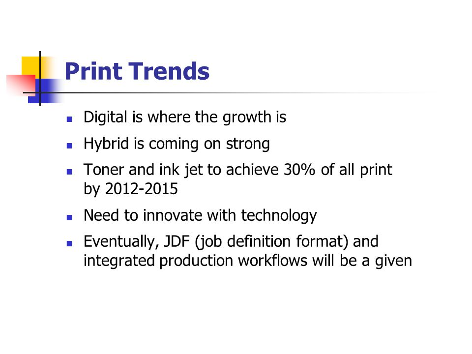 Digital Printing Futures 20,000 units, 40ppm and faster shipped By 2010, penetration of all printing industry user categories will be over 90% Digital only firms to increase from 626 in 2000 to 10,845 in 2010 Expect sheet size to increase Volume to come from offset due to : Shorter runs Tighter schedules Distribute and print Frank Romano, Professor Emeritus, RIT