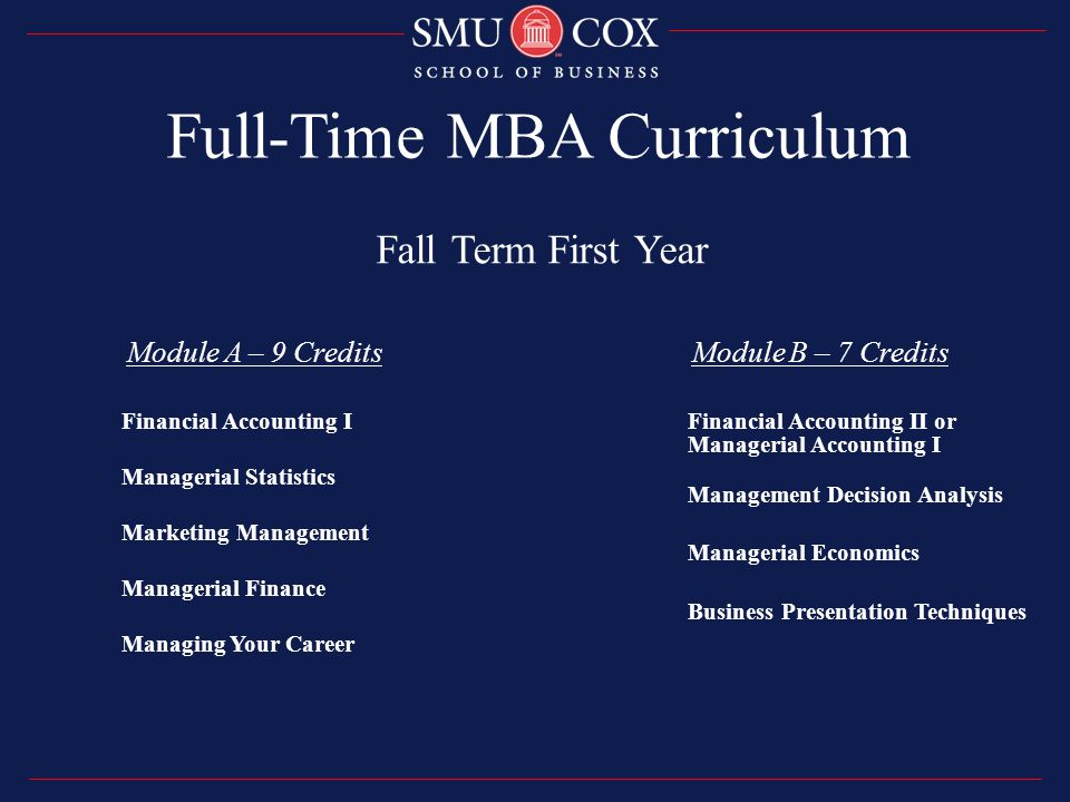 Full-Time MBA Curriculum Fall Term First Year Module A – 9 Credits Module B – 7 Credits Financial Accounting I Managerial Statistics Marketing Management Managerial Finance Managing Your Career Financial Accounting II or Managerial Accounting I Management Decision Analysis Managerial Economics Business Presentation Techniques