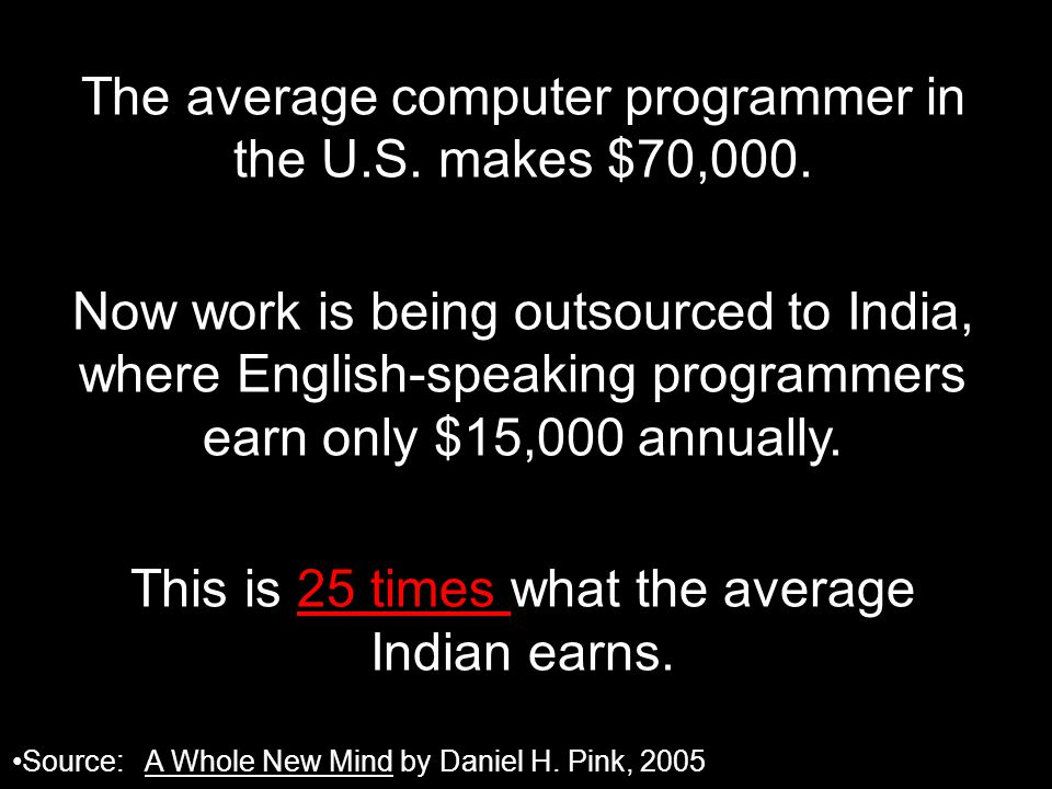 The average computer programmer in the U.S. makes $70,000.