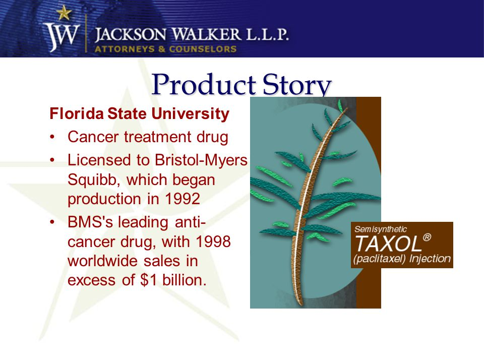 Product Story Florida State University Cancer treatment drug Licensed to Bristol-Myers Squibb, which began production in 1992 BMS s leading anti- cancer drug, with 1998 worldwide sales in excess of $1 billion.
