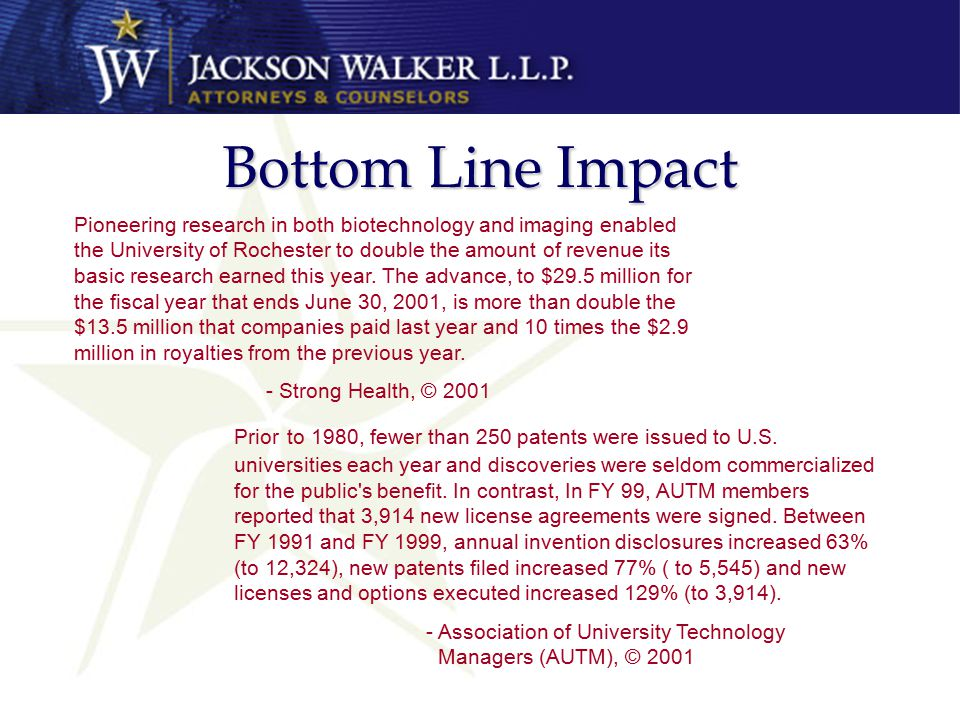 Bottom Line Impact Pioneering research in both biotechnology and imaging enabled the University of Rochester to double the amount of revenue its basic research earned this year.