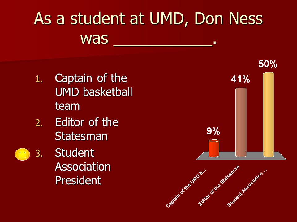 As a student at UMD, Don Ness was ___________. 1.