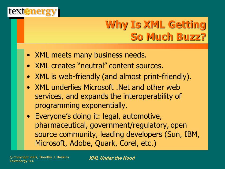 "© Copyright 2002, Dorothy J. Hoskins Textenergy LLC XML Under the Hood Why Is XML Getting So Much Buzz? XML meets many business needs. XML creates ""ne"