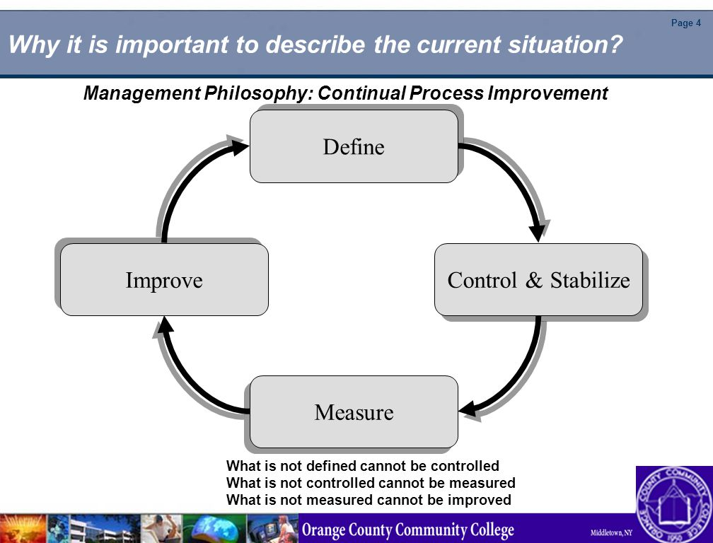 Page 4 Why it is important to describe the current situation? Define Control & Stabilize Improve Measure What is not defined cannot be controlled What