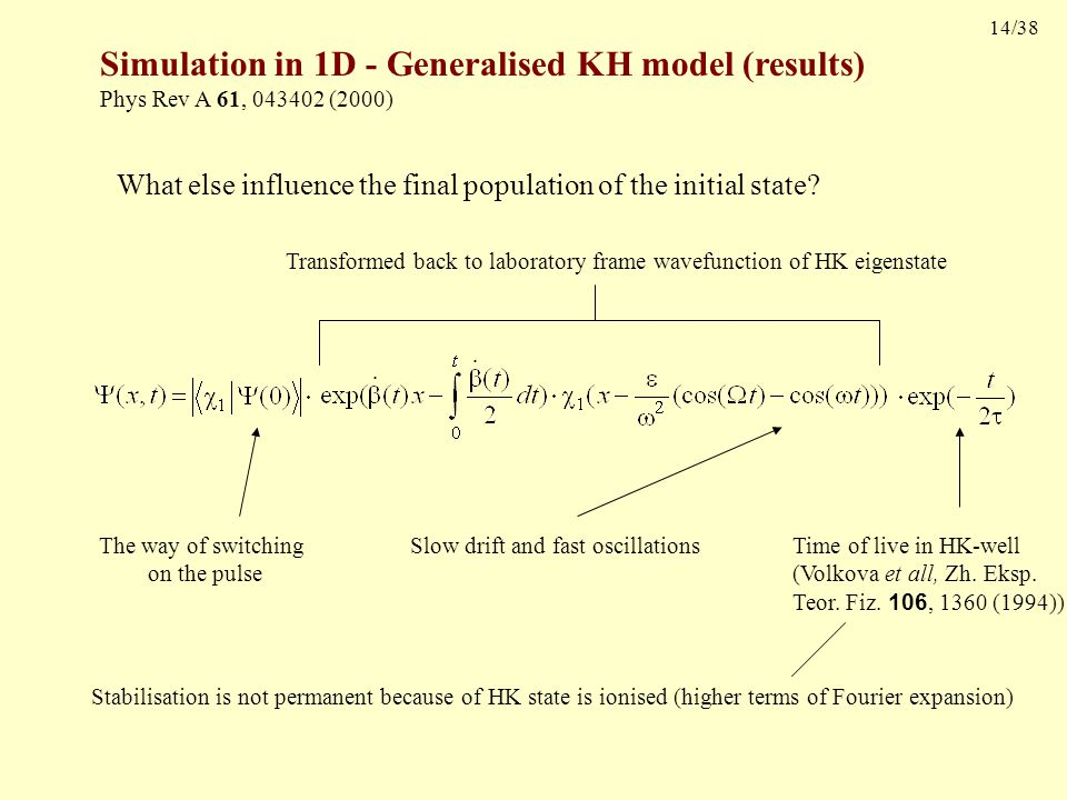14/38 Simulation in 1D - Generalised KH model (results) Phys Rev A 61, 043402 (2000) What else influence the final population of the initial state.
