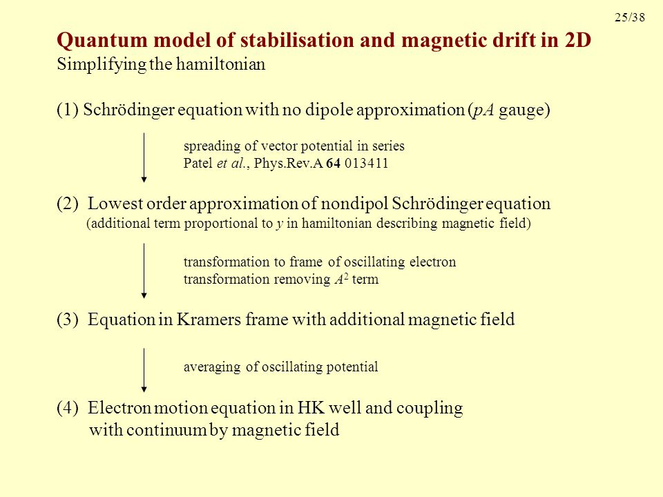 25/38 (1) Schrödinger equation with no dipole approximation (pA gauge) Quantum model of stabilisation and magnetic drift in 2D Simplifying the hamiltonian spreading of vector potential in series Patel et al., Phys.Rev.A 64 013411 (2) Lowest order approximation of nondipol Schrödinger equation (additional term proportional to y in hamiltonian describing magnetic field) (3) Equation in Kramers frame with additional magnetic field transformation to frame of oscillating electron transformation removing A 2 term averaging of oscillating potential (4) Electron motion equation in HK well and coupling with continuum by magnetic field