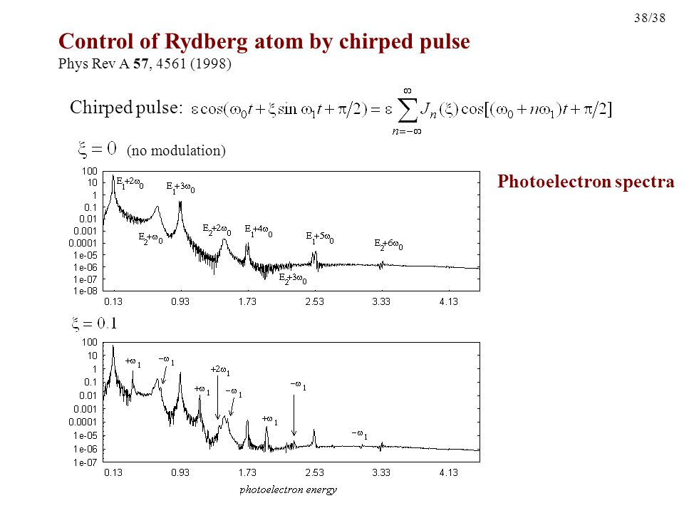 38/38 Control of Rydberg atom by chirped pulse Phys Rev A 57, 4561 (1998) Chirped pulse: (no modulation) Photoelectron spectra