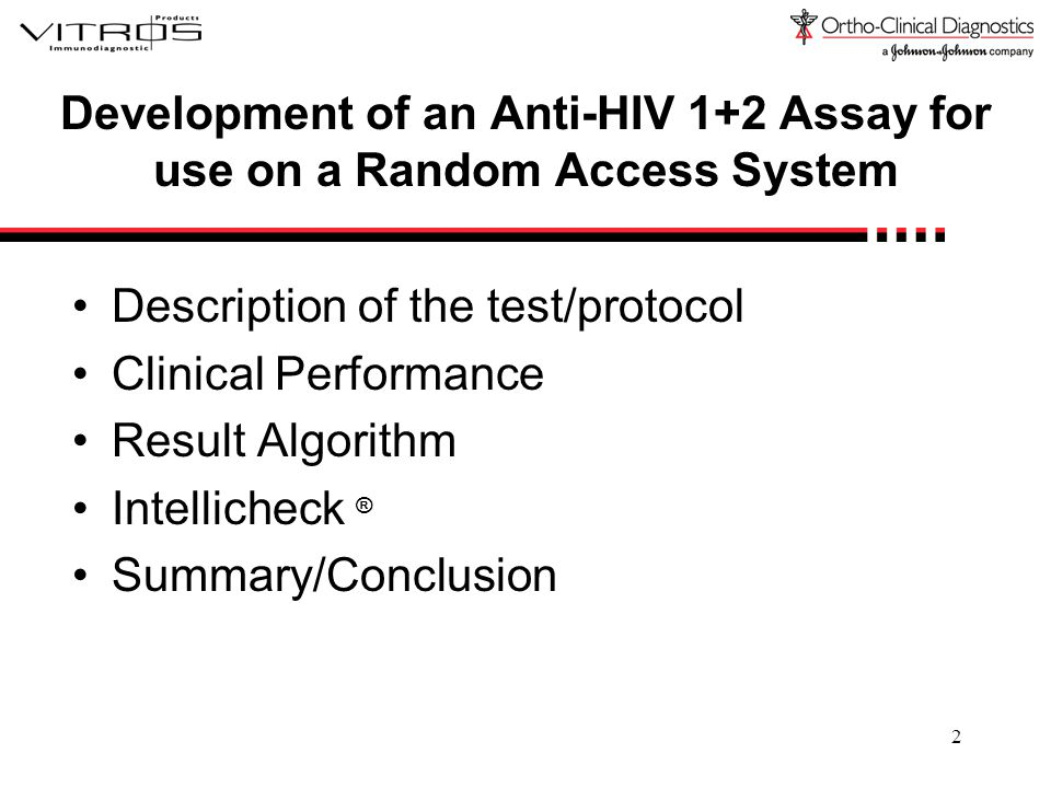 3 Test for the in vitro qualitative detection of antibodies to Human Immunodeficiency Virus types 1 and/or 2 (anti ‑ HIV 1 and anti ‑ HIV 2) in human serum and plasma (heparin, EDTA or citrate) using the VITROS ® ECi/ECiQ Immunodiagnostic System.