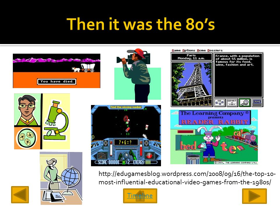 Timeline http://edugamesblog.wordpress.com/2008/09/16/the-top-10- most-influential-educational-video-games-from-the-1980s/