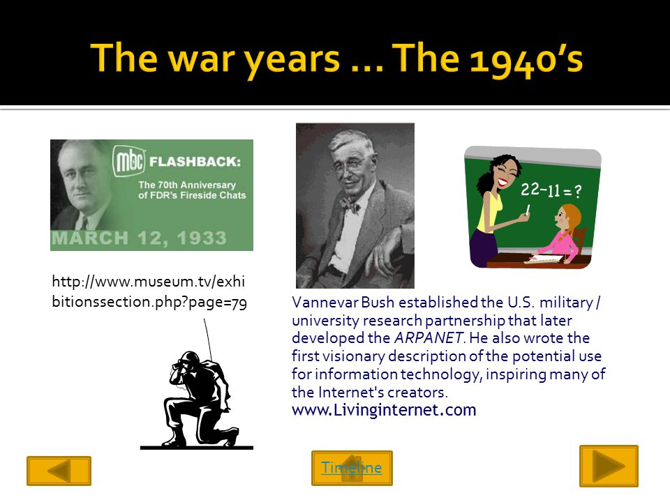 Timeline http://www.museum.tv/exhi bitionssection.php page=79 Vannevar Bush established the U.S.