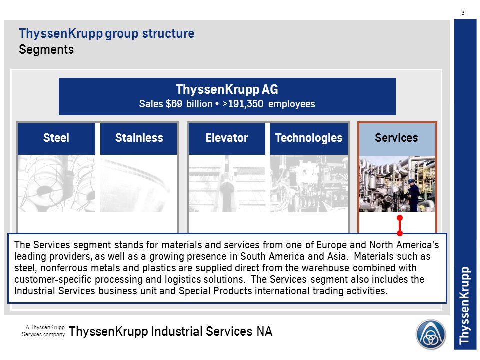 ThyssenKrupp A ThyssenKrupp Services company ThyssenKrupp Industrial Services NA 3 StainlessServicesElevatorTechnologiesSteel The Services segment sta