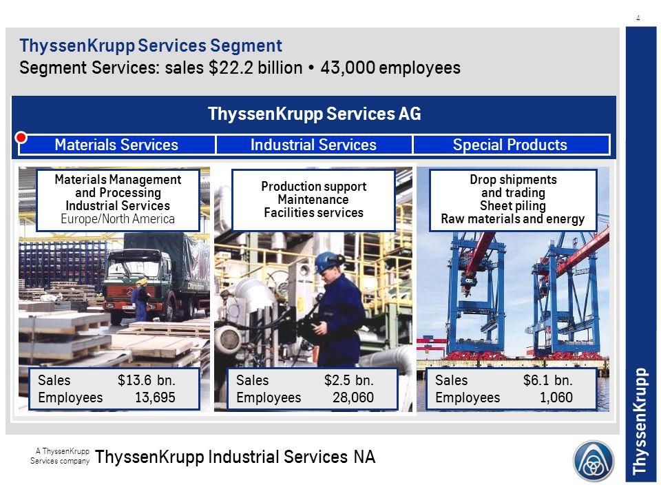 ThyssenKrupp A ThyssenKrupp Services company ThyssenKrupp Industrial Services NA 4 ThyssenKrupp Services Segment Segment Services: sales $22.2 billion