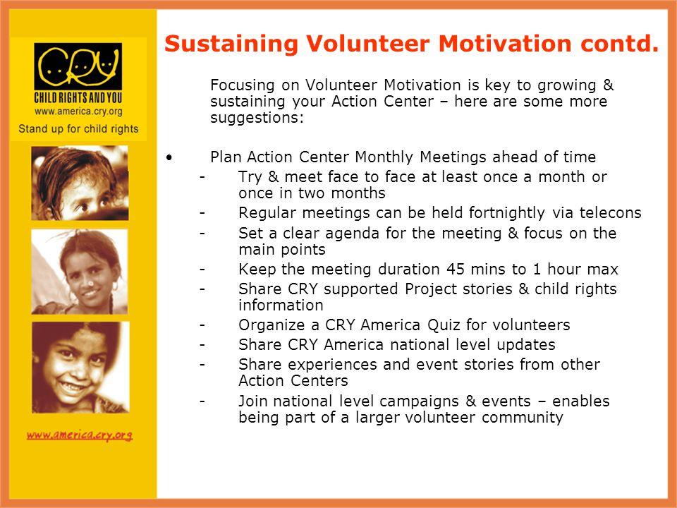 Sustaining Volunteer Motivation contd.