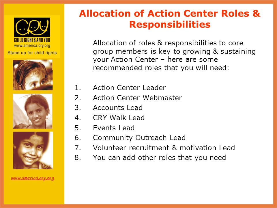 Allocation of Action Center Roles & Responsibilities contd.
