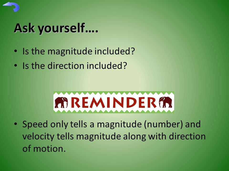 Ask yourself…. Is the magnitude included. Is the direction included.