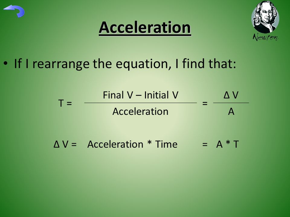 Acceleration If I rearrange the equation, I find that: T = Final V – Initial V = ∆ V AccelerationA ∆ V = Acceleration * Time=A * T