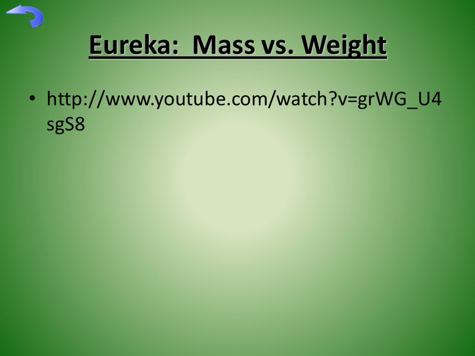 Eureka: Mass vs. Weight http://www.youtube.com/watch?v=grWG_U4 sgS8