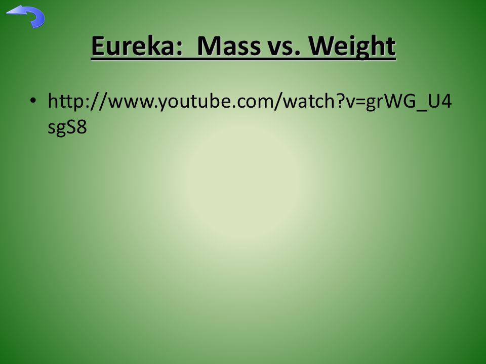Eureka: Mass vs. Weight http://www.youtube.com/watch v=grWG_U4 sgS8