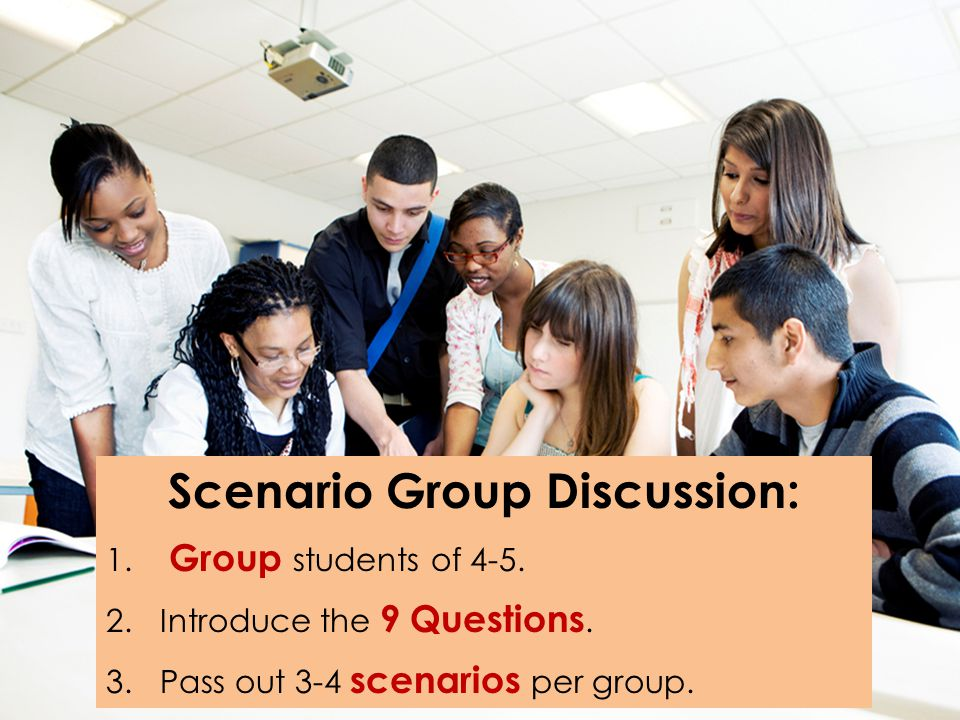 Scenario Group Discussion: 1. Group students of 4-5. 2.Introduce the 9 Questions. 3.Pass out 3-4 scenarios per group.