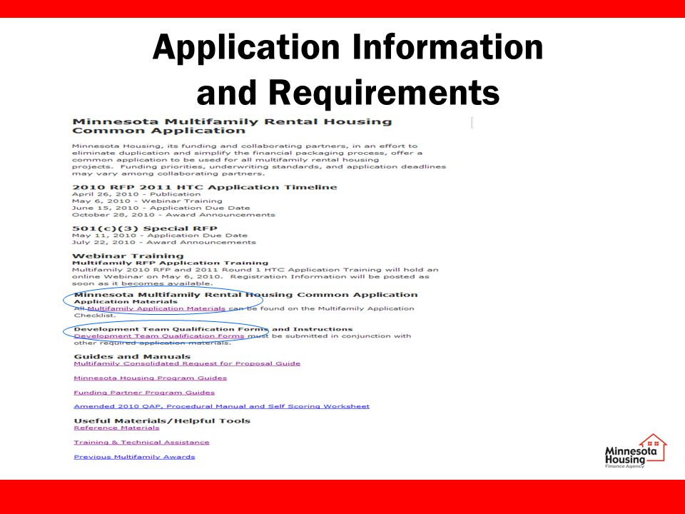 Application Information and Requirements