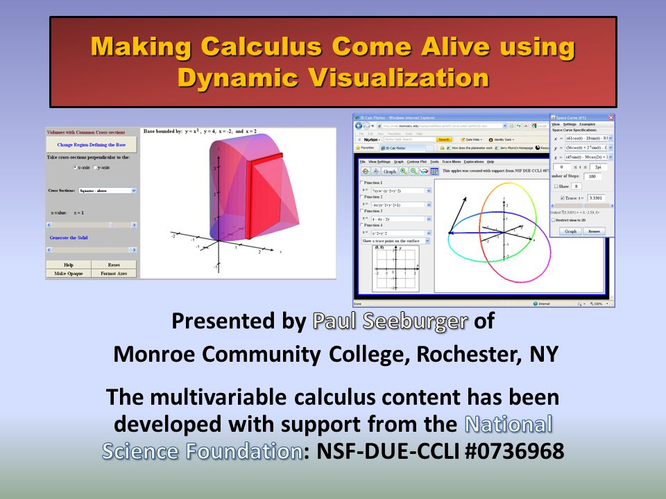 Making Calculus Come Alive using Dynamic Visualization