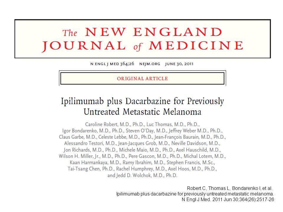 Robert C, Thomas L, Bondarenko I, et al. Ipilimumab plus dacarbazine for previously untreated metastatic melanoma. N Engl J Med. 2011 Jun 30;364(26):2