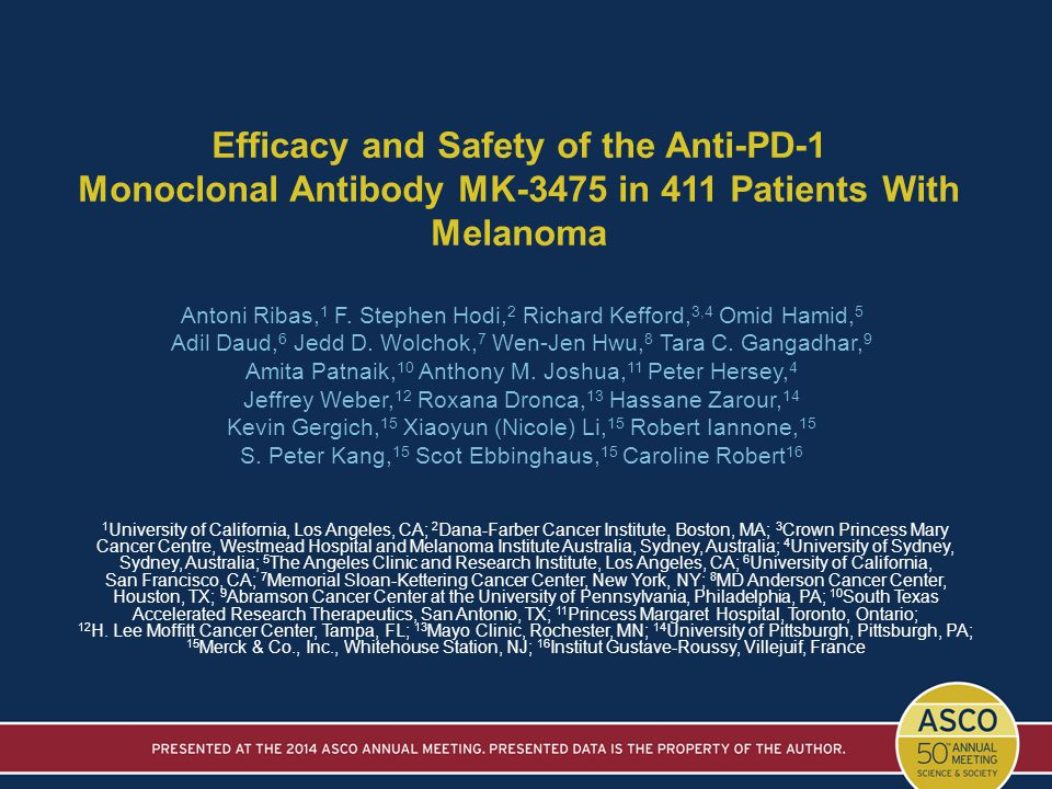 Efficacy and Safety of the Anti-PD-1 Monoclonal Antibody MK-3475 in 411 Patients With Melanoma Antoni Ribas, 1 F. Stephen Hodi, 2 Richard Kefford, 3,4