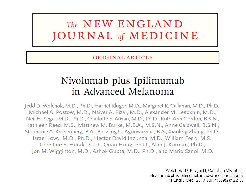 Wolchok JD, Kluger H, Callahan MK, et al. Nivolumab plus ipilimumab in advanced melanoma. N Engl J Med. 2013 Jul 11;369(2):122-33