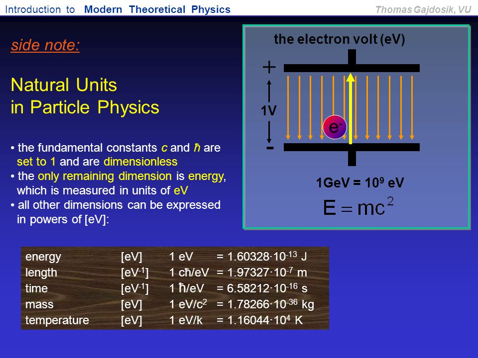 Introduction to Modern Theoretical Physics Thomas Gajdosik, VU + - e-e- 1V 1GeV = 10 9 eV the electron volt (eV) side note: Natural Units in Particle