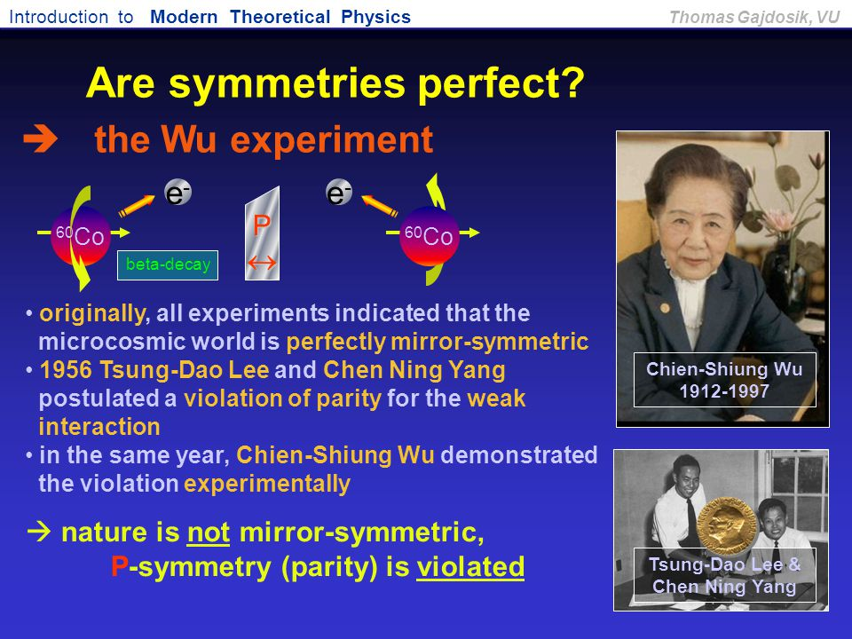 Introduction to Modern Theoretical Physics Thomas Gajdosik, VU originally, all experiments indicated that the microcosmic world is perfectly mirror-sy