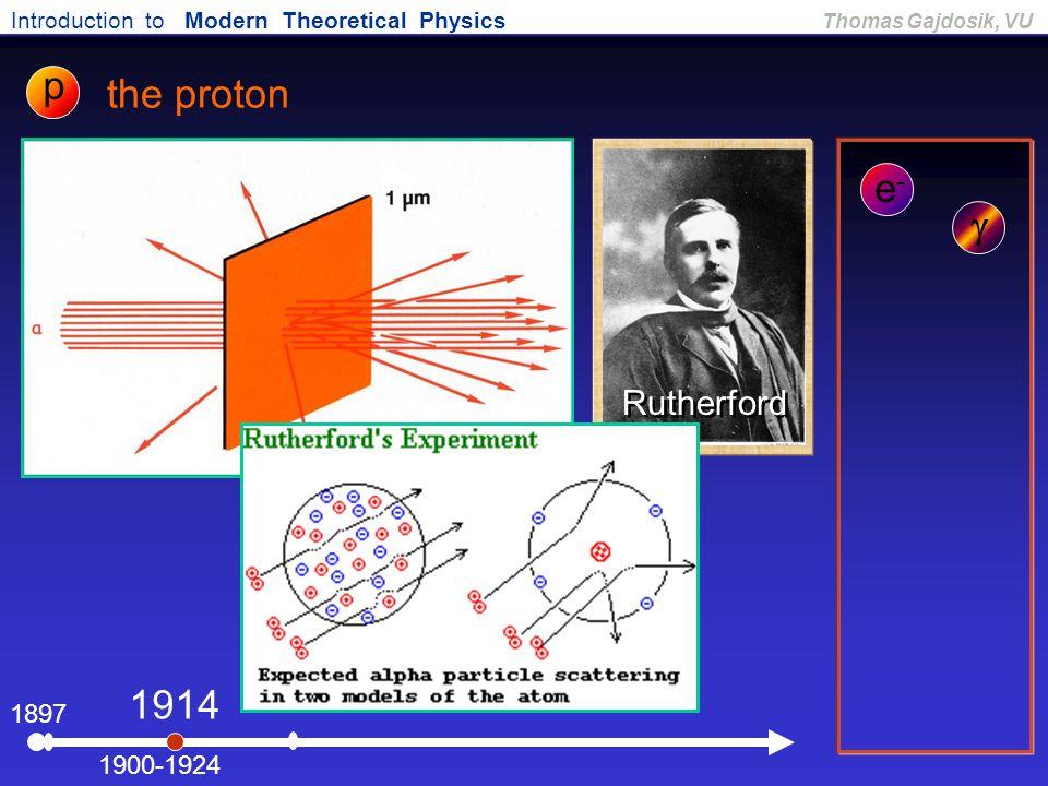 Introduction to Modern Theoretical Physics Thomas Gajdosik, VU 1897 the proton e-e- 1900-1924  1914 Rutherford p