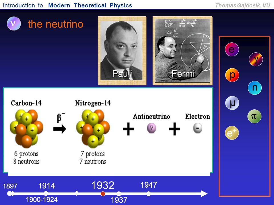 Introduction to Modern Theoretical Physics Thomas Gajdosik, VU 1897 the neutrino e-e- 1900-1924  1914 p 1932 n 1937 µ 1947  e+e+ Fermi Pauli