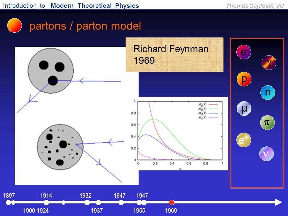 Introduction to Modern Theoretical Physics Thomas Gajdosik, VU partons / parton model e-e-  p n µ  e+e+ Richard Feynman 1969 1900-1924 1897191419471