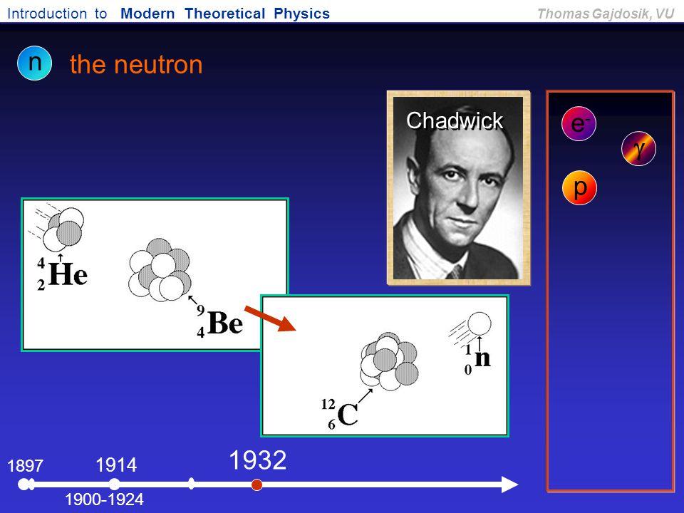 Introduction to Modern Theoretical Physics Thomas Gajdosik, VU 1897 the neutron e-e- 1900-1924  1914 n p 1932 Chadwick