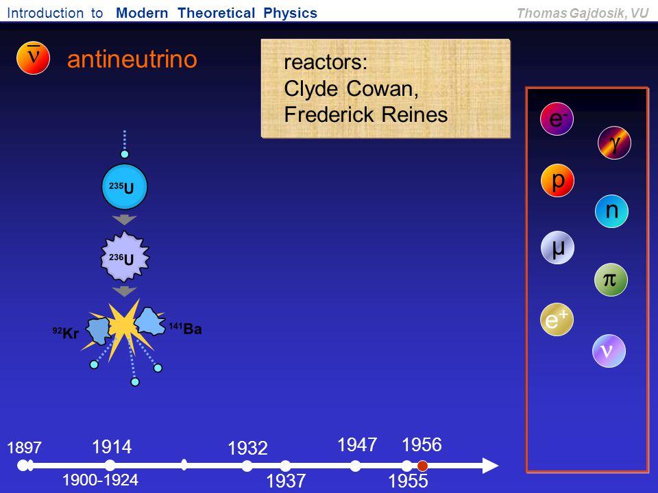 Introduction to Modern Theoretical Physics Thomas Gajdosik, VU 1897 antineutrino e-e- 1900-1924  1914 p 1932 n 1937 µ 1956  e+e+ reactors: Clyde Cow