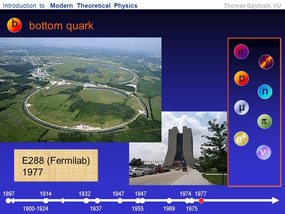 Introduction to Modern Theoretical Physics Thomas Gajdosik, VU bottom quark e-e-  p n µ  e+e+ E288 (Fermilab) 1977 b 19751900-1924 1897191419471932