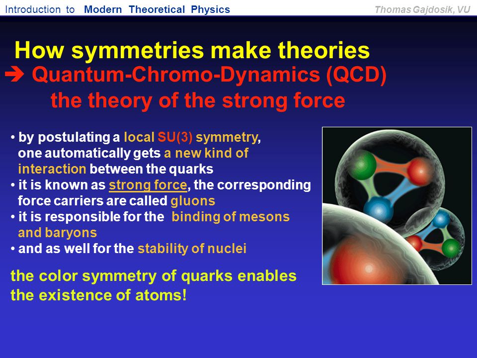 Introduction to Modern Theoretical Physics Thomas Gajdosik, VU by postulating a local SU(3) symmetry, one automatically gets a new kind of interaction